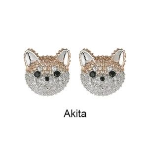 🆕🐶💎🐕 Akita Dog Pave Crystal Stud Earrings